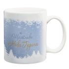 Коледна чаша със снежинки и елхички