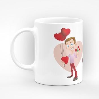 """Чаша """"Честит Свети Валентин!"""" с мъж с балони-сърца - подарък за Свети Валентин"""