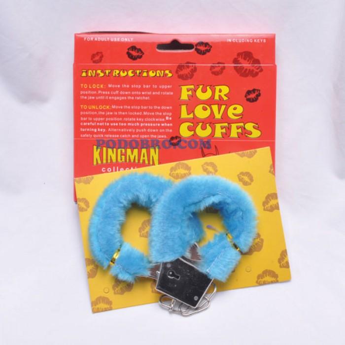 Секси белезници с пухчета сини