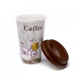 Красива керамична чаша със силиконова капачка