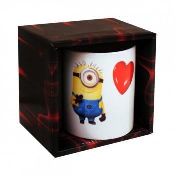 Чаша с Миньон и сърце - подарък за половинката