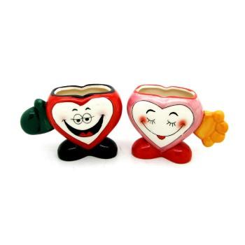 Комплект чаши за влюбени във формата на сърце