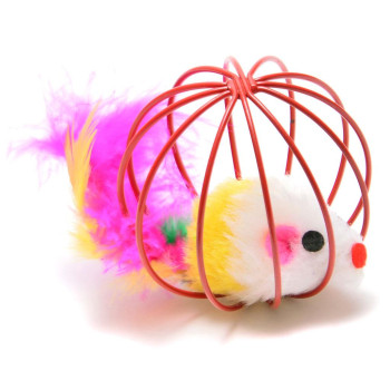 Шарена мишка в сфера - забавна играчка за котка