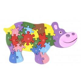Дървен пъзел, състоящ се от 26 части с цифри и латински букви на гърба - хипопотам