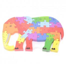 Дървен пъзел - 26 части с латински букви и цифри - слон