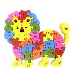 Дървен пъзел, състоящ се от 26 части с цифри и латински букви на гърба - лъв