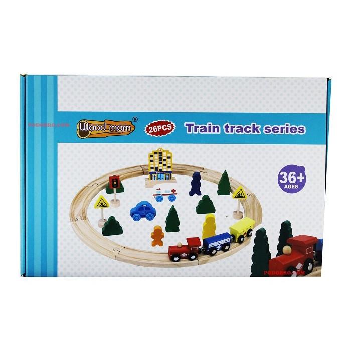 Дървен влак с релси и 2 вагона
