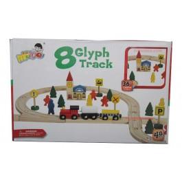 Детски дървен влак с релси