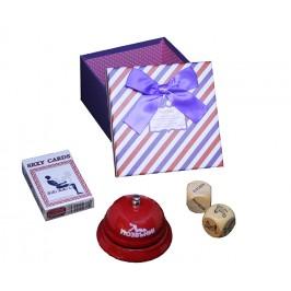 Подаръчен комплект със звънец, зарове и карти в кутия