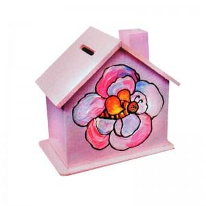 Дървена къщичка-касичка за оцветяване