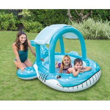 Детски надуваем басейн със сенник Кит INTEX Whale Shade