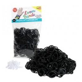 Черни силиконови ластици за плетене на гривни 200 бр.