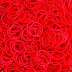Червени силиконови ластици за плетене на гривни 200 бр.