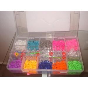 Кутия с ластици за плетене, стан за плетене, кукучки, закопчалки