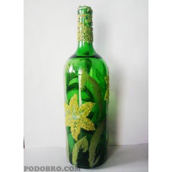 """Рисувано шише """"Жълта лилия"""" - подарък за всеки повод на цена от 18 лв."""