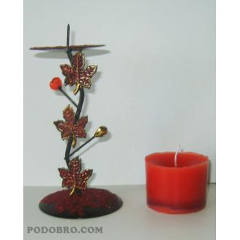 """Свещник """"Есен"""" – Червено за 15.00 лв."""