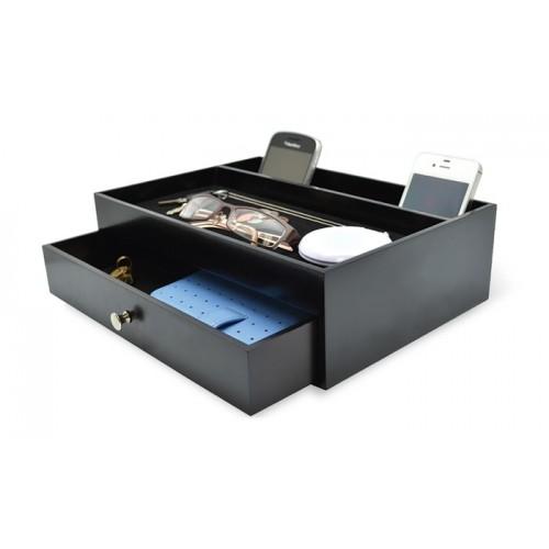 Стилен органайзер за бюро с чекмедже и място за зареждане на телефони