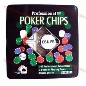 Покер комплект със 100 чипа