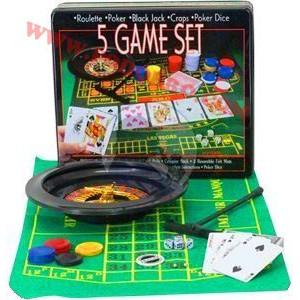 Комплект 5 игри - Рулетка, Покер, Блекджек, Бакара, Крапс(зарове)