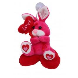 Плюшено зайче  върху сърце с възможност за закачане