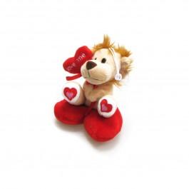 Плюшено лъвче върху сърце с възможност за закачане
