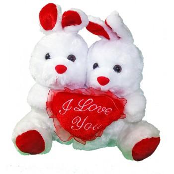 Музикална плюшена двойка зайци със сърце