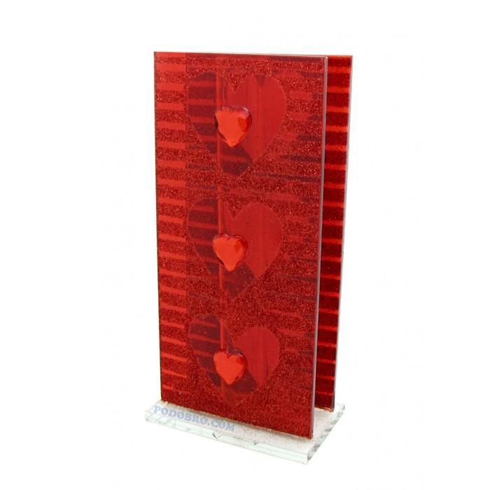 Стъклена вазичка на сърца - подарък за  8-ми март
