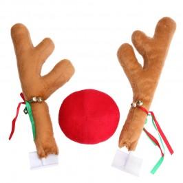Коледни еленски рога с нос за автомобил - големи