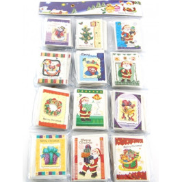 Комплект 120 броя - 12 вида красиви коледни картички 10х7см