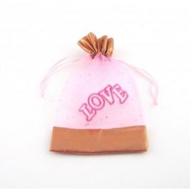 Луксозна подаръчна торбичка тюл с надпис love