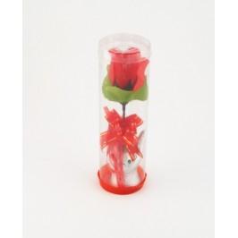 Цвете от плат върху керамична поставка - ръка, с панделка