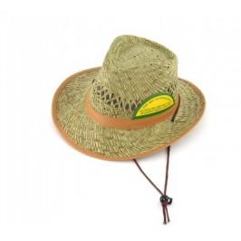 Плетена лятна шапка с кант и регулиращи връзки