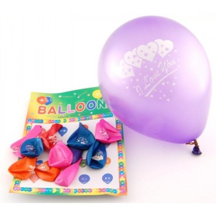 12 броя цветни балони с надпис