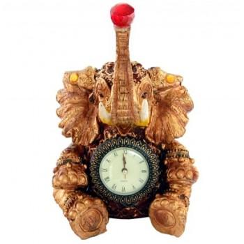 Декоративен керамичен настолен часовник - слон - 27см