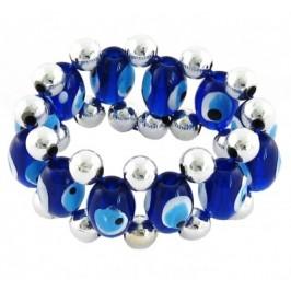 Сувенир синьо стъклено око - гривна