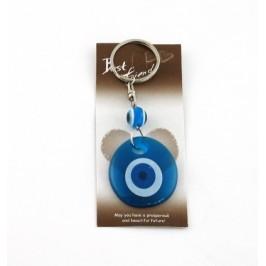 Сувенир синьо стъклено око - ключодържател