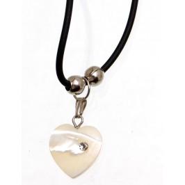 Нежно колие - черен силикон, с висулка - седефено сърце, декорирано с бяло камъче
