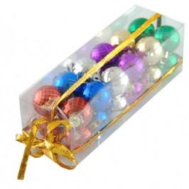 Комплект от разноцветни релефни коледни топки за окачване на елха