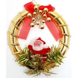 Коледна украса за окачване - основа златист обръч с диаметър 15см, тематично декориран с червена панделка и Дядо Мраз