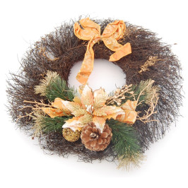 Венец от лозови клонки украсен с панделка и шишарки