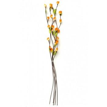 Комплект от пет броя декоративни цветя от плат