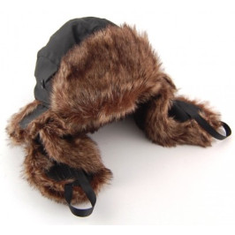 Зимна шапка от импрегнирана материя и еко кожа