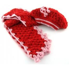 Красив плетен зимен комплект - барета и шал с декорации