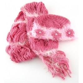 Красив плетен зимен комплект - шапка и шал с декорации