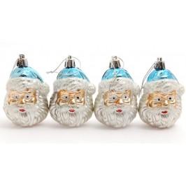 Комплект от четири броя коледна украса за елха - Дядо Коледа