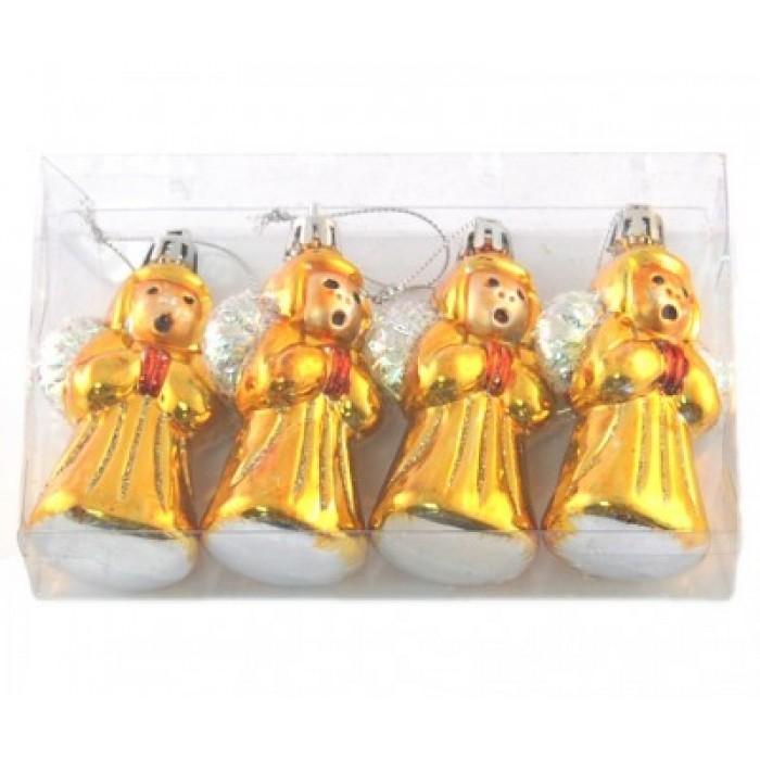 Красив комплект от пеещи ангели за окачване на елха