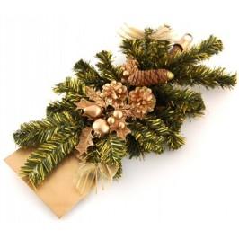 Коледна украса на лопатка с красиви декоративни борови клонки и шишарки