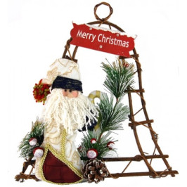 Декоративна светеща коледна камбанка от дърво, аранжирана с плюшена фигурка на Дядо Коледа и тематична табелка