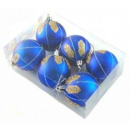 Матирани коледни топки за окачване на елха с блестяща декорация - брокат