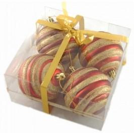 Комплект двуцветни релефни коледни топки за окачване на елха, декорирани с брокат